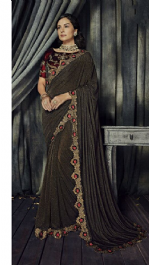 Dark Brown Sparkly Saree